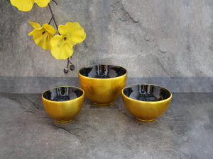 Bowl gold blk inside set of 3