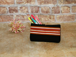 Lahu pencile case Black w/brown & white