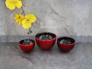 Bowl Red,blk inside set of 3