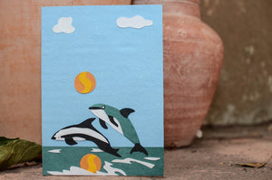 Card-Delightful Diving dolphins