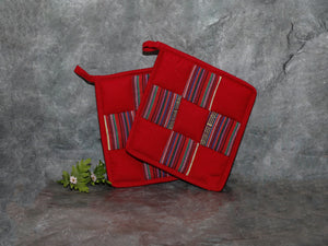 Cotton pot holder set (red)