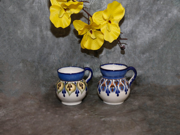 Handpainted  mug Blue w/Brown,Green