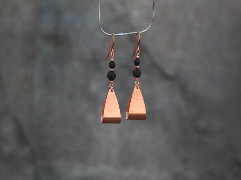 Copper hanging earrings