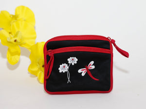 Multi-Pocket  w/Flowers, dragonfly
