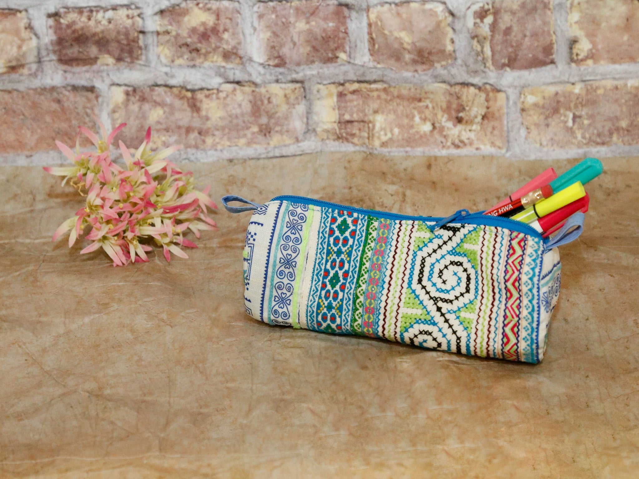 Hmong Pencil Purse w- Full Pattern-blue