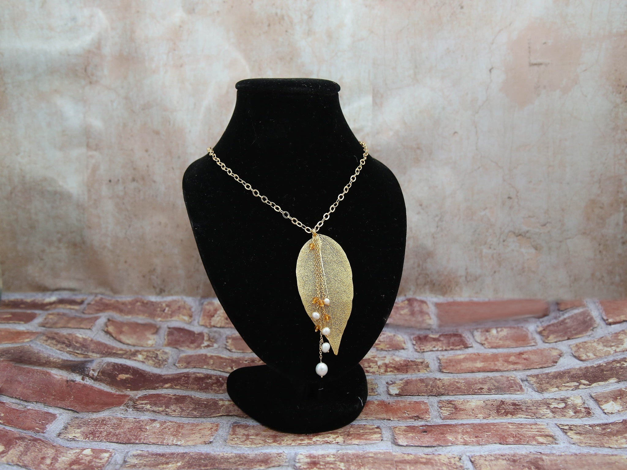 Necklace-One of A Kind gold leaf