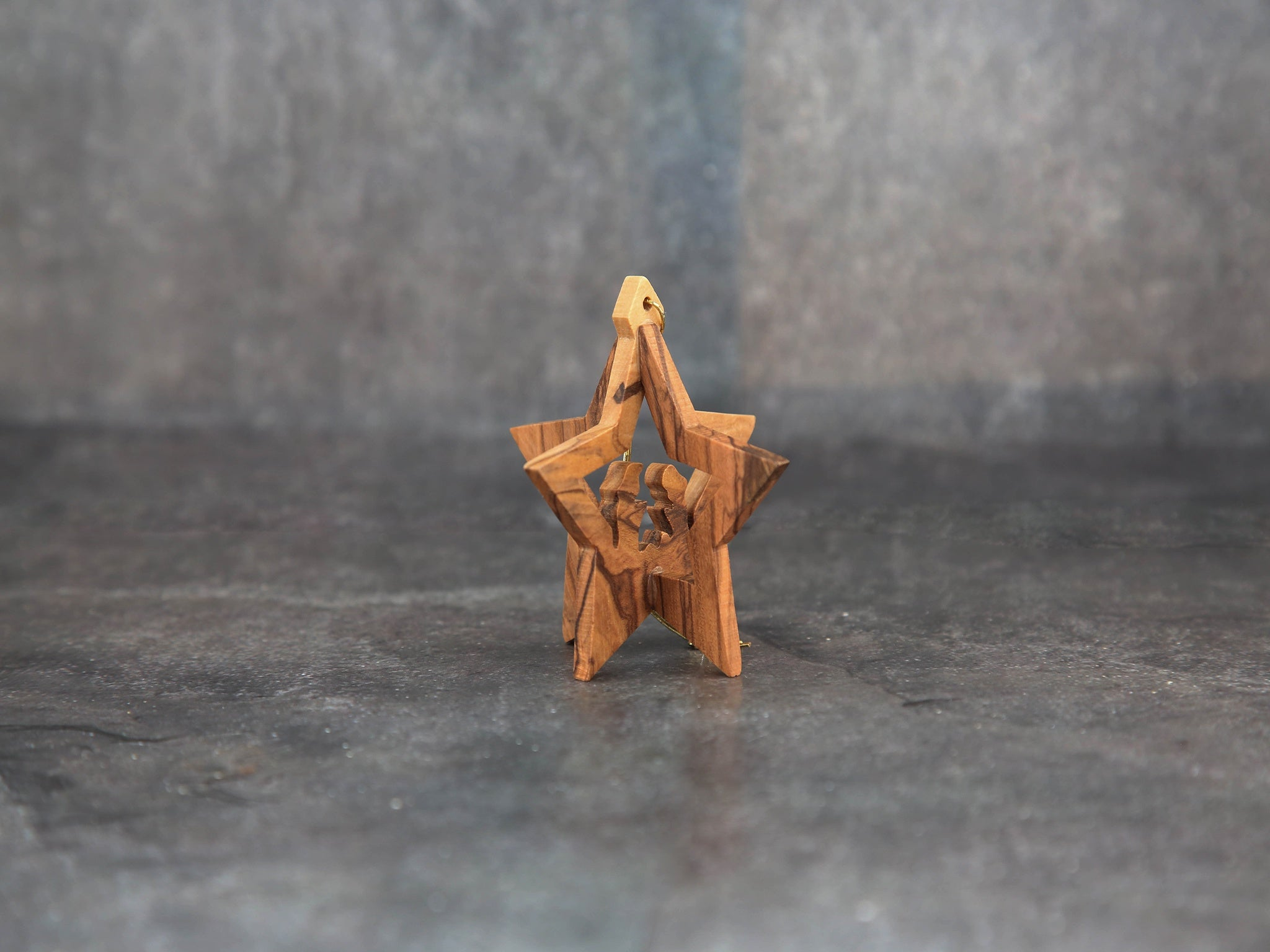 Olive wood 3-d star small