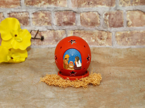 Ceramic lamp With nativity Red