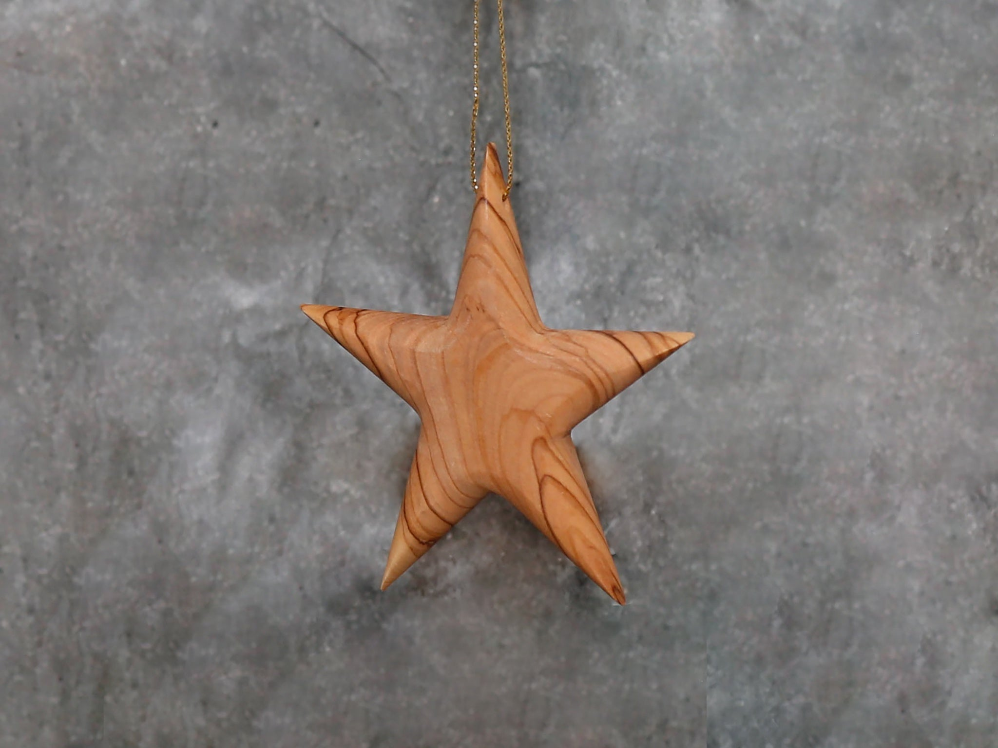ornament solid Olive wood star