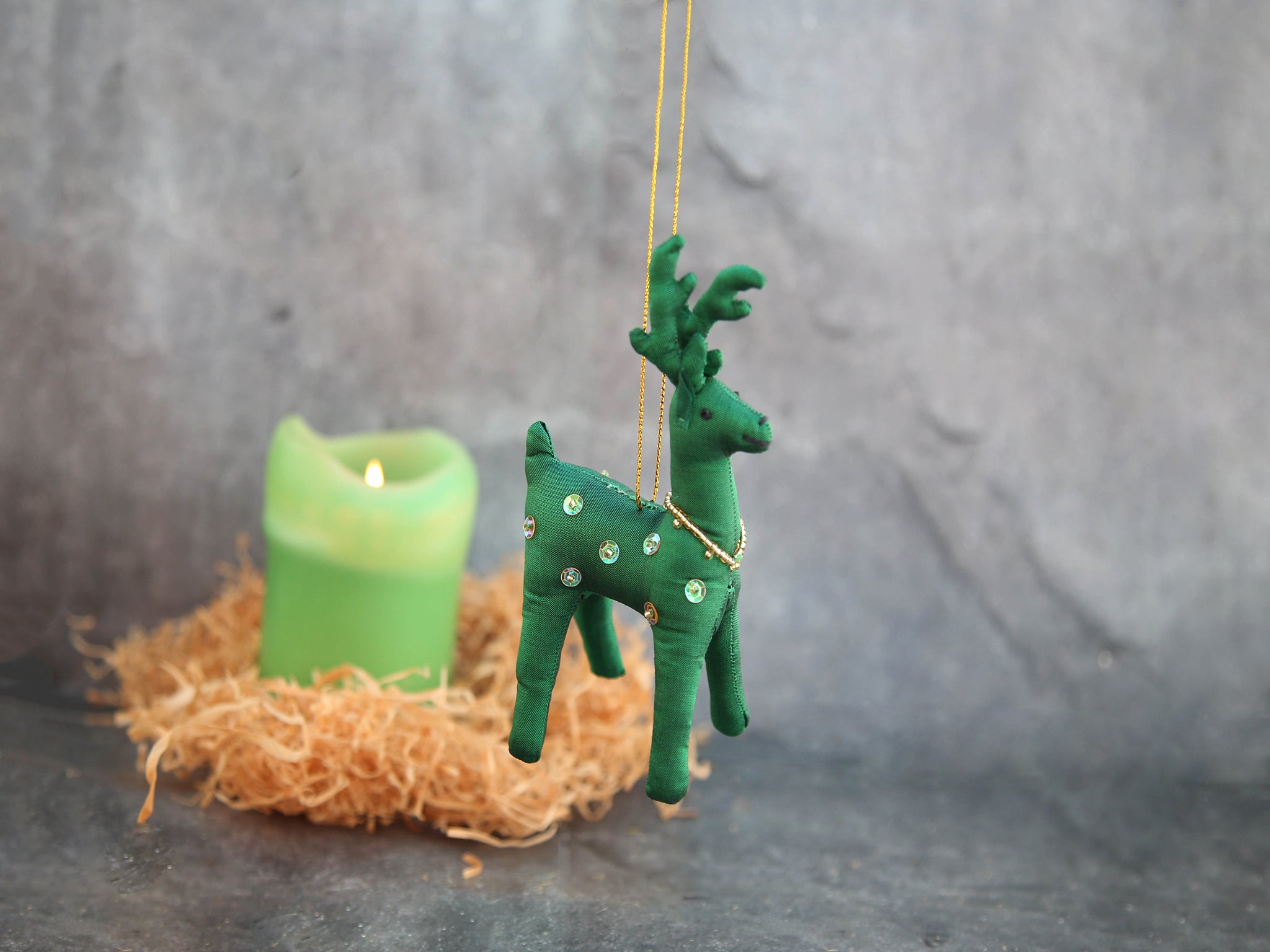 Ornament - Green Reindeer
