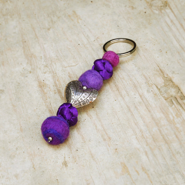 Felt & Silk Key Chain-Purple