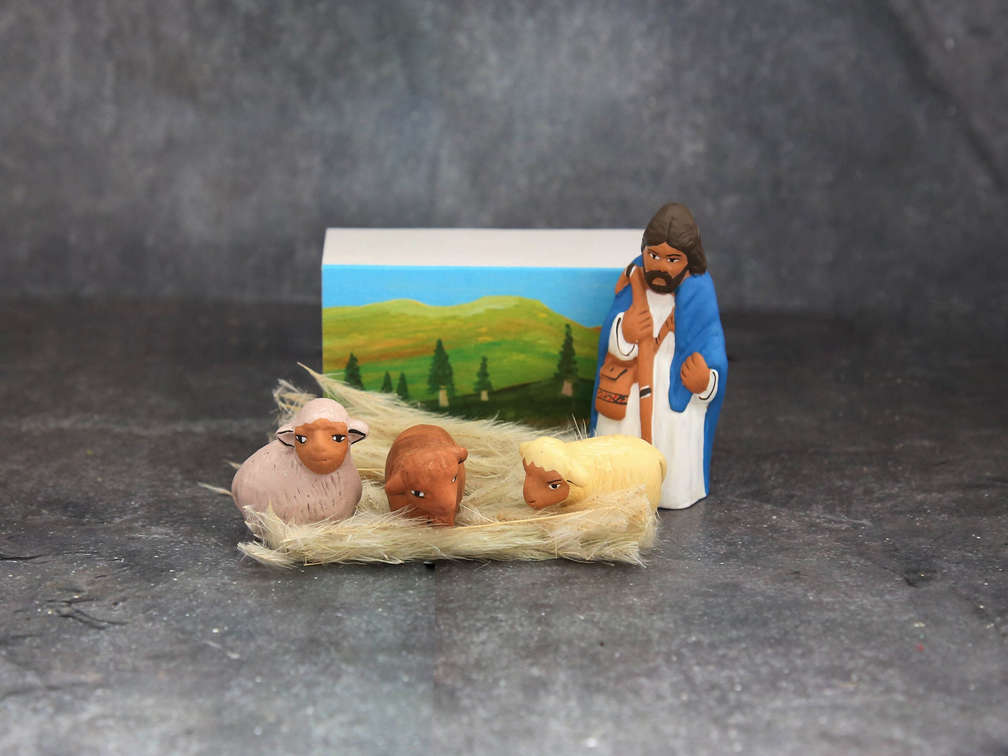 ceramic ornament shepherd& sheep in box