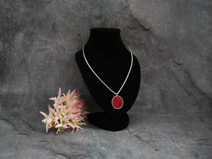 Simplicity Silver Necklace with Red Pendant