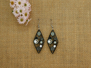 Earring- Onyx Diamond Swirl