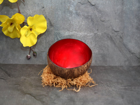 Coconut bowl  red lacquer inside