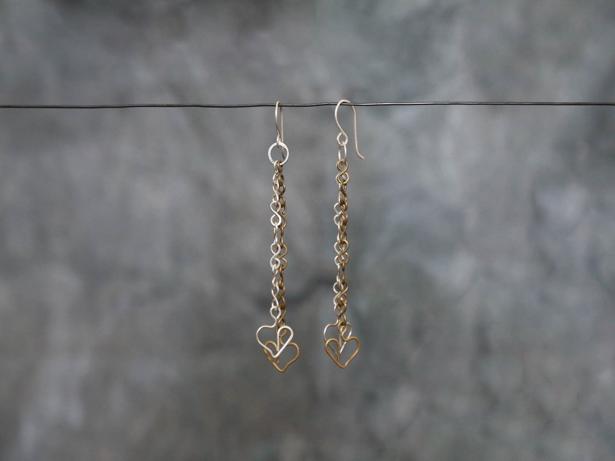 Earrings long Silver& Brass Heart