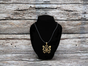Necklace w/butterfly pendant, brass