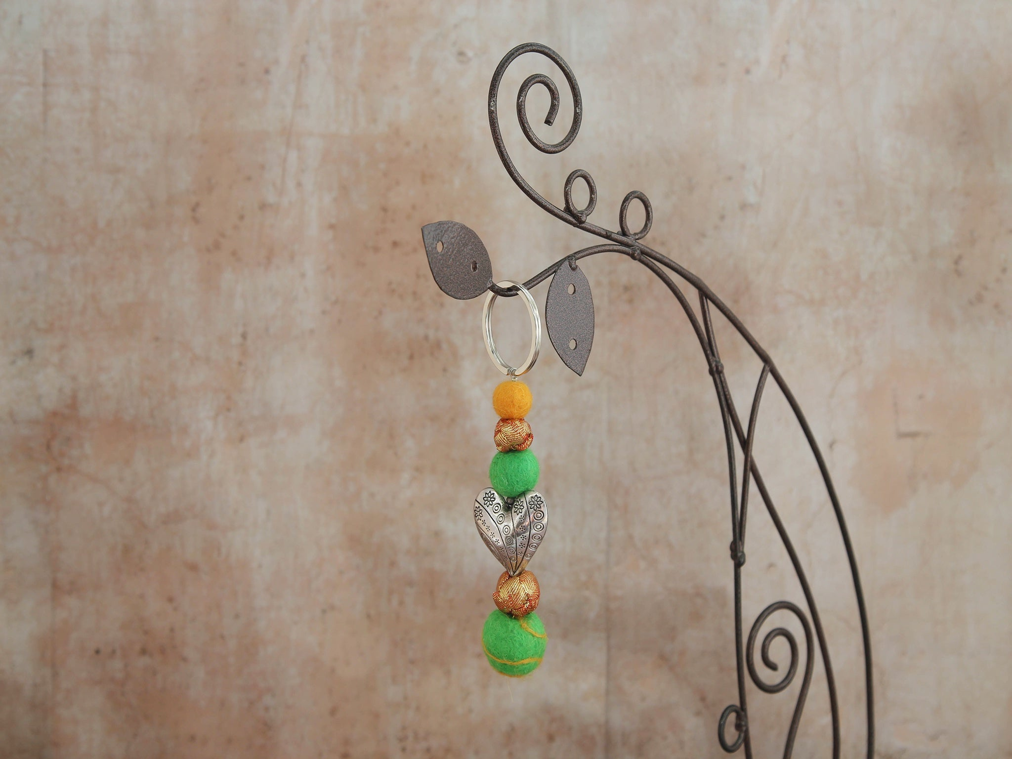 Key Chain, Felt and Silk-Orange