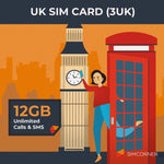 SimCorner UK Sim Card 3UK 12GB