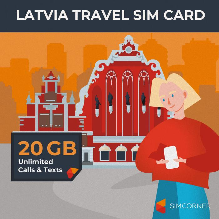 Latvia Travel Sim Card (20GB)