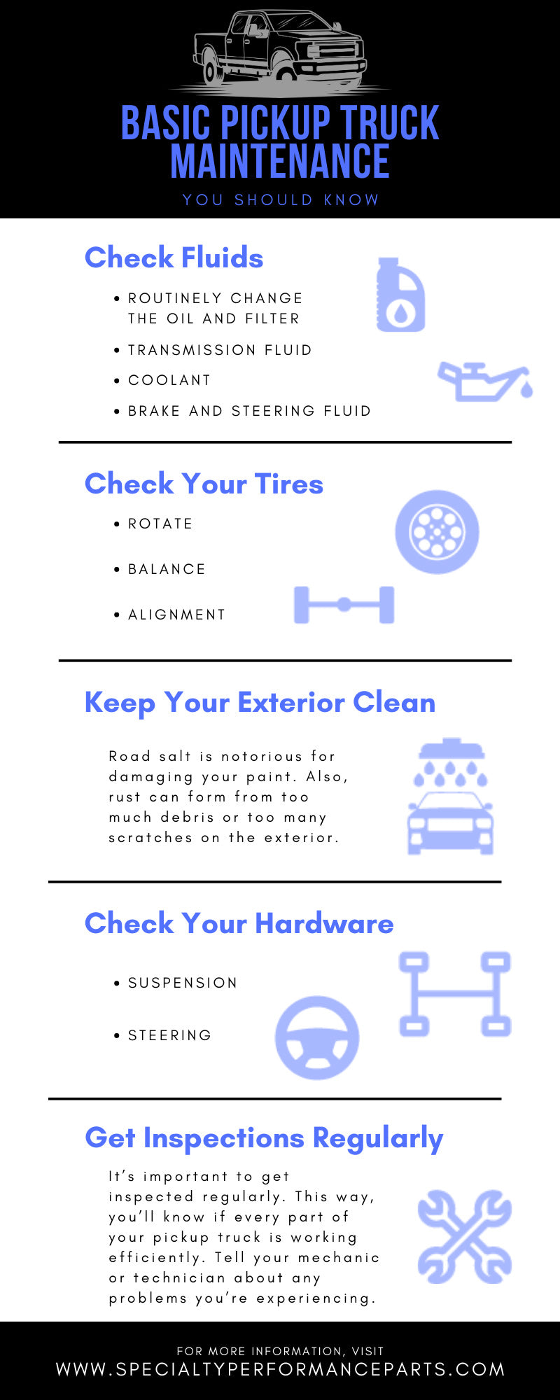 Basic Pickup Truck Maintenance You Should Know infographic