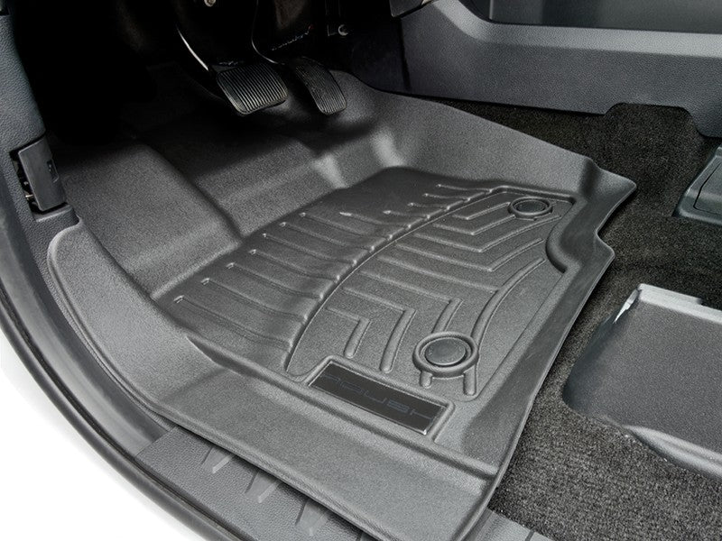 WEATHERTECH WINDOW GUARDS IN SMOKE BLACK ON A BLUE F-150