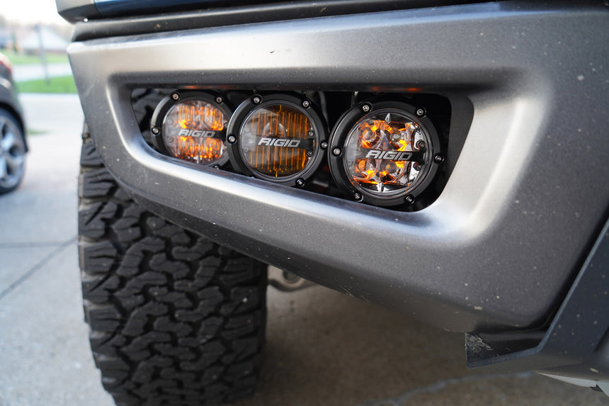 2017 -2020 Rigid ROUND 360 Series Fog Light Kit Including Brackets (Front Only) - LED Lights