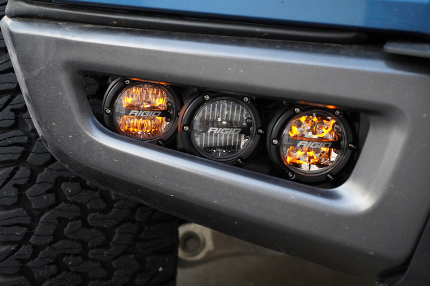Open box demo- 2017-2020 Rigid ROUND 360 Series Fog Light Kit Including Brackets (Front Only) - LED Lights