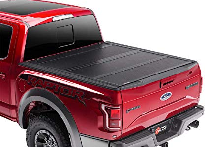 BAKFLIP F1 2015-2019 F-150 on a RED F-150 with one panel folded up