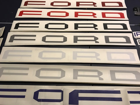 Raptor Vinyl Grill letter seletion to choose from Dark Red, Bright Red, Black, Dark Gray, White, Light Gray, and Blue