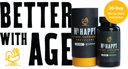 Mr. Happy Dietary Supplement for Men, Get Better With Age with a 30-Day money-back guarantee
