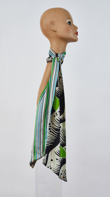Printed grass and stripes silk long biais scarf tied around neck side angle