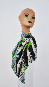 Printed grass and stripes silk carre tied around neck