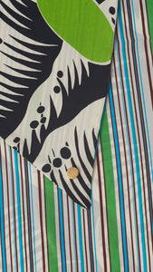 Printed grass and stripes silk carre close up fabrics