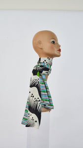 Double sided Printed grass and stripes silk  scarf tied around neck side angle