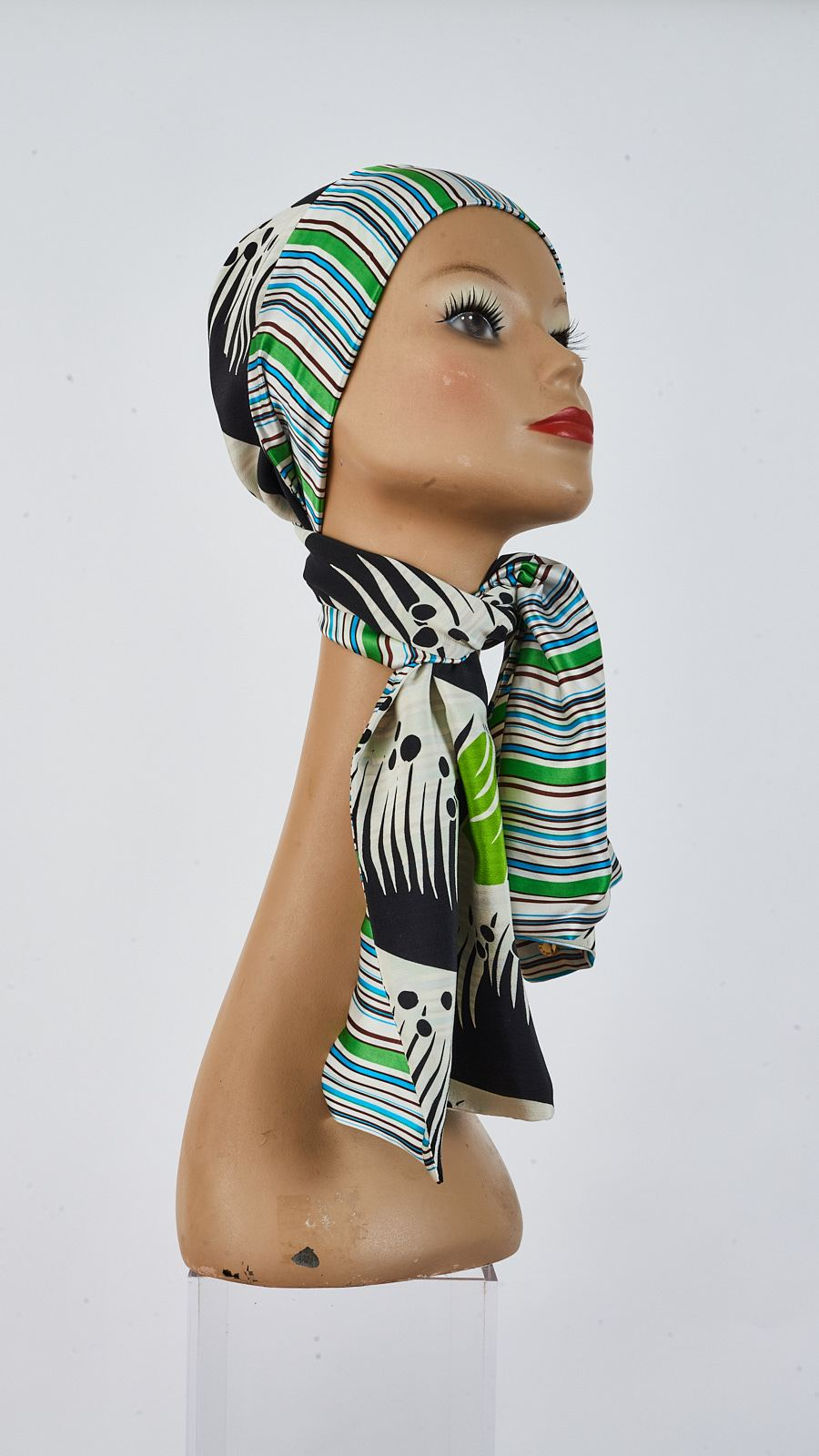 Double sided Printed grass and stripes silk  scarf tied around head