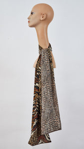 Double sided Printed safari and reptile silk scarf side angle