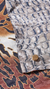 Double sided Printed safari and reptile silk scarf close up fabric