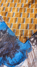 Load image into Gallery viewer, Printed caramel and sketch large silk scarf close up fabrics