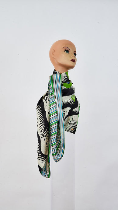 Printed grass and stripes large silk scarf tied around neck