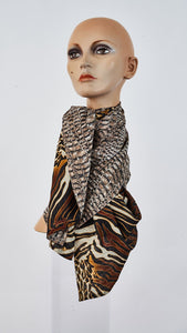 Printed safari and reptile large silk scarf tied around neck