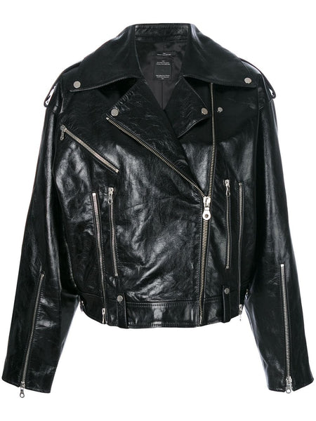 BIKER LEATHER JACKET 00 BLACK-BLACK