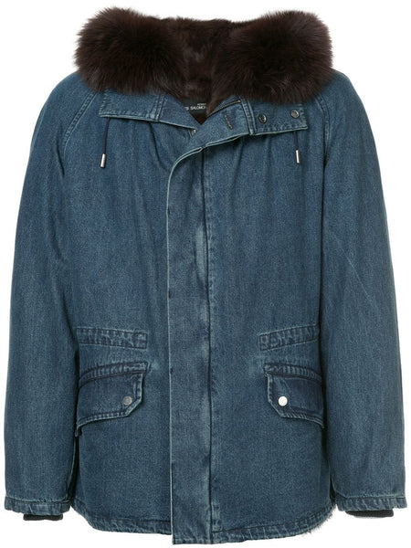PARKA 77CM RABBIT DENIM FO