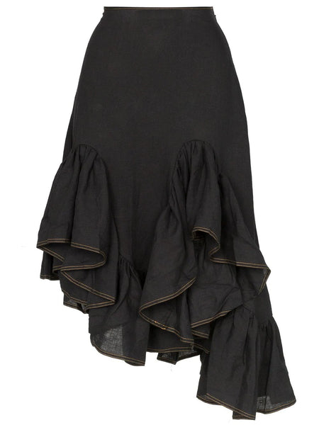 MELTED TED FRIL SKIRT LINEN