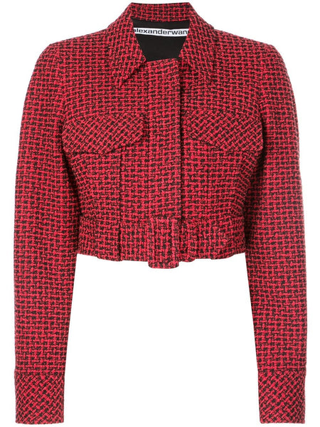 STRUCTURED JACKET WITH SELF BLACK RED