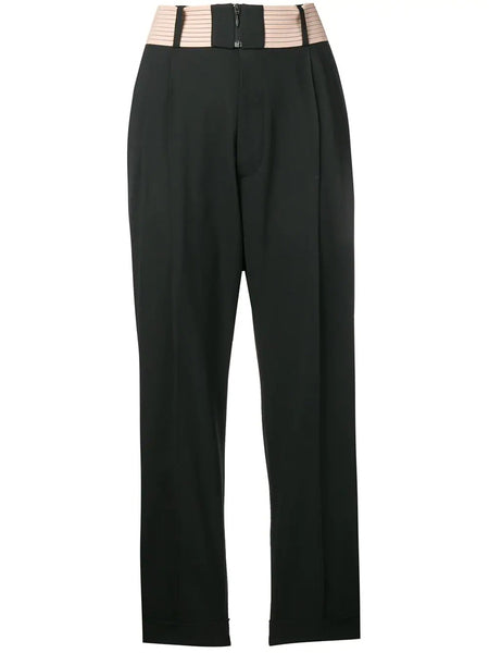 WOMAN'S WOVEN PANTS contrast waist pleated trousers