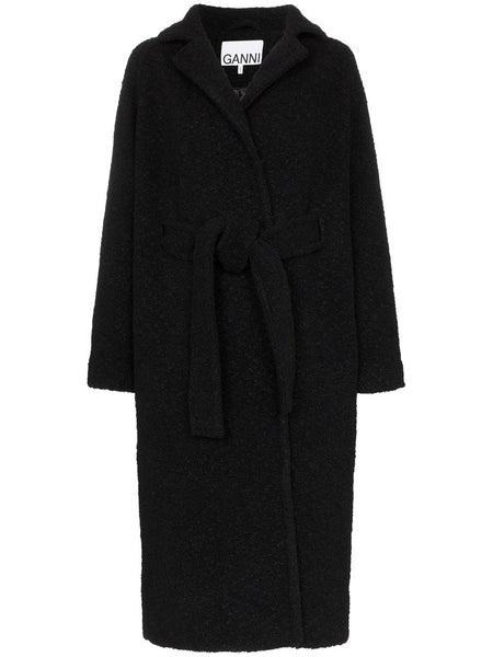 BOUCLE WOOL LONG WRAP BELTED COAT