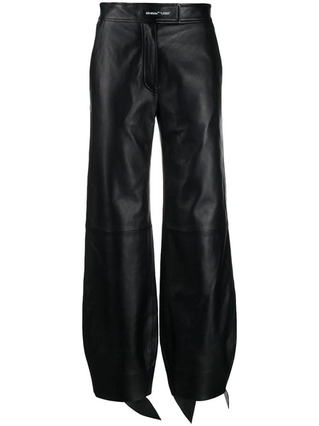 LEATHER BOW TRACK PANT