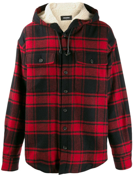 MALE WOVEN SHIRT checked hooded shirt jacket