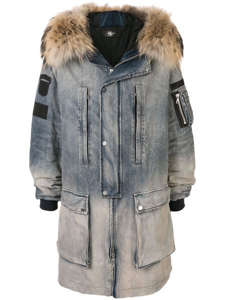 DOWN DENIM HOODED JACKET CAPPOTTI